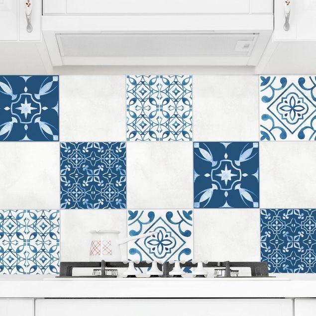 Produktfoto Fliesenaufkleber 4er Set - Aquarell Muster Blau Weiß No.2 - 20cm x 20cm Fliesensticker Set