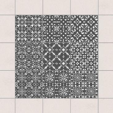 Produktfoto Fliesenaufkleber 9er Set - Dunkelgrau Weiß Muster Serie - 20cm x 20cm Fliesensticker Set