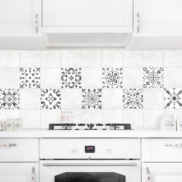 Produktfoto Fliesenaufkleber 9er Set - Muster Grau Weiß Set - 20cm x 20cm Fliesensticker Set