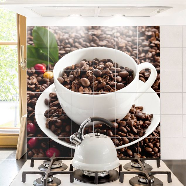 Produktfoto Fliesenbild - Kaffeetasse mit gerösteten Kaffeebohnen - Fliesensticker Set quadratisch