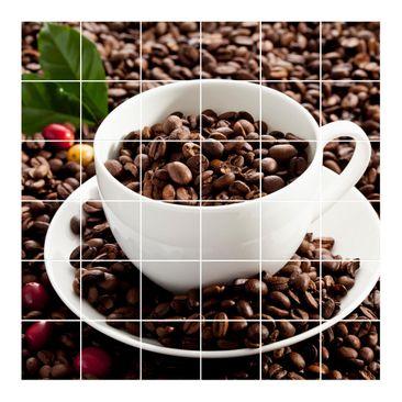 Immagine del prodotto Adesivo per piastrelle - Coffee Cup With Roasted Coffee Beans - Quadrato