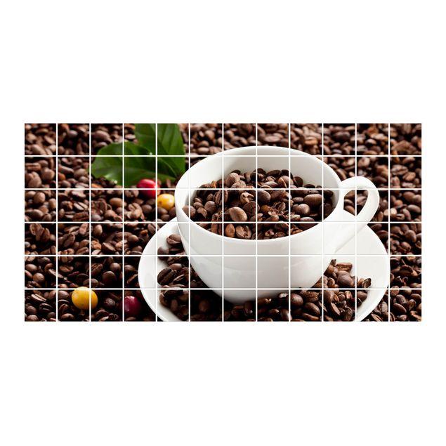 Produktfoto Fliesenbild - Kaffeetasse mit gerösteten Kaffeebohnen - Fliesensticker Set Querformat