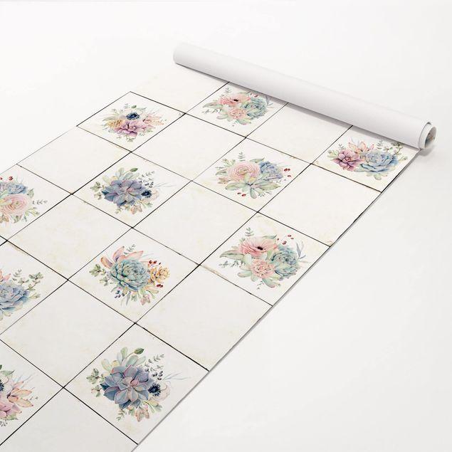 Produktfoto Vliestapete - Aquarell Blumen Landhaus - Fototapete Rolle