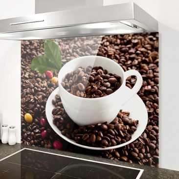 Immagine del prodotto Paraschizzi in vetro - Coffee Cup With Roasted Coffee Beans - Orizzontale 3:4