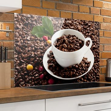 Immagine del prodotto Paraschizzi in vetro - Coffee Cup With Roasted Coffee Beans - Orizzontale 2:3
