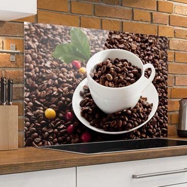 Produktfoto Spritzschutz Glas - Kaffeetasse mit gerösteten Kaffeebohnen - Querformat 2:3