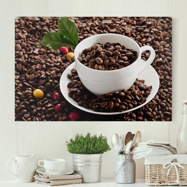 Immagine del prodotto Stampa su tela - Coffee Cup With Roasted Coffee Beans - Orizzontale 2:3