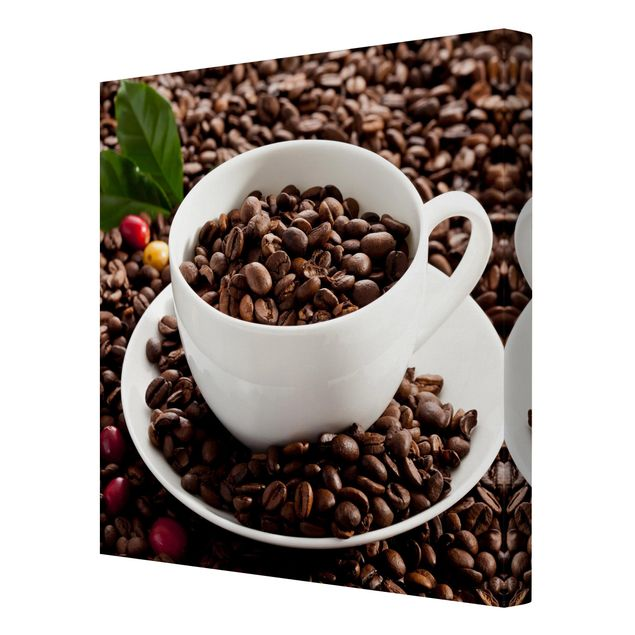Produktfoto Leinwandbild - Kaffeetasse mit gerösteten Kaffeebohnen - Quadrat 1:1, Spiegelkantendruck rechts, Artikelnummer 226865-FR