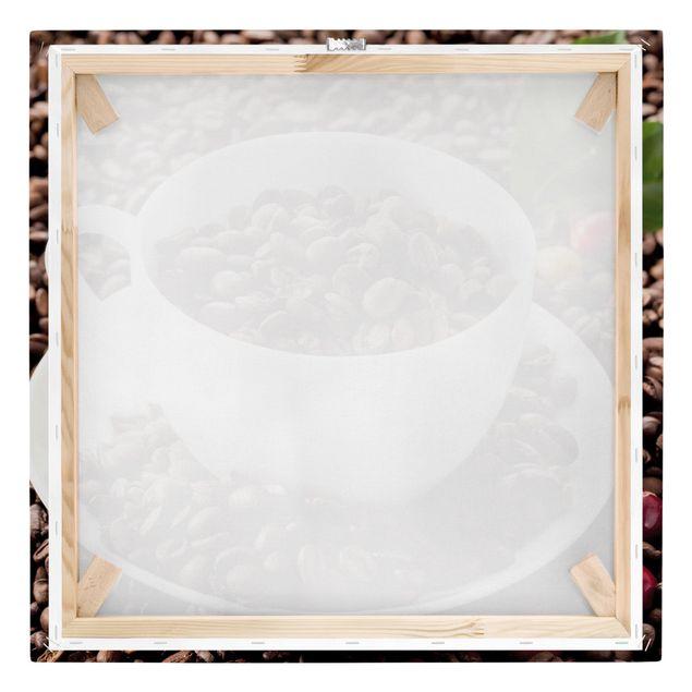 Produktfoto Leinwandbild - Kaffeetasse mit gerösteten Kaffeebohnen - Quadrat 1:1, Keilrahmen Rückseite, Artikelnummer 226865-FB