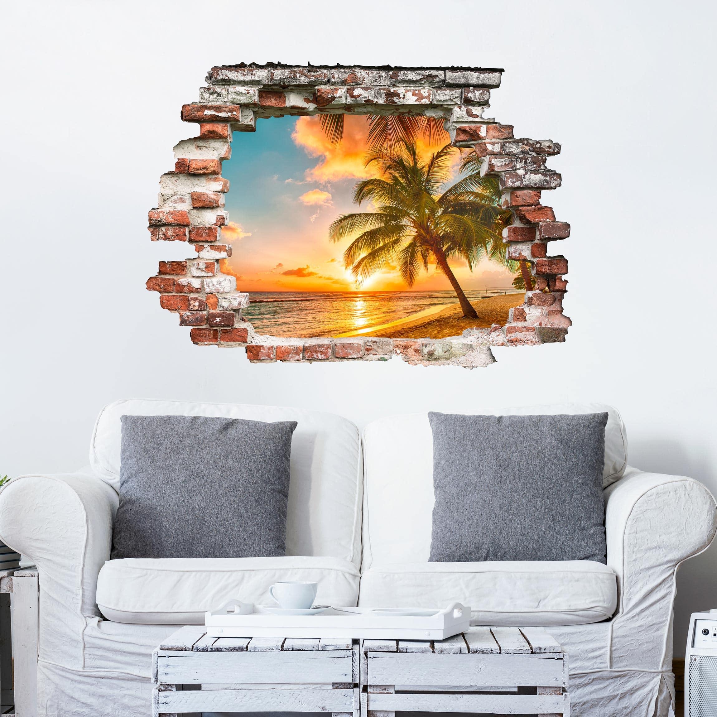 3d wandtattoo sonnenaufgang am strand. Black Bedroom Furniture Sets. Home Design Ideas
