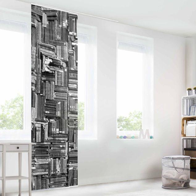 Produktfoto Schiebegardinen Set - Shabby Bücherwand schwarz weiß - 2 Flächenvorhänge