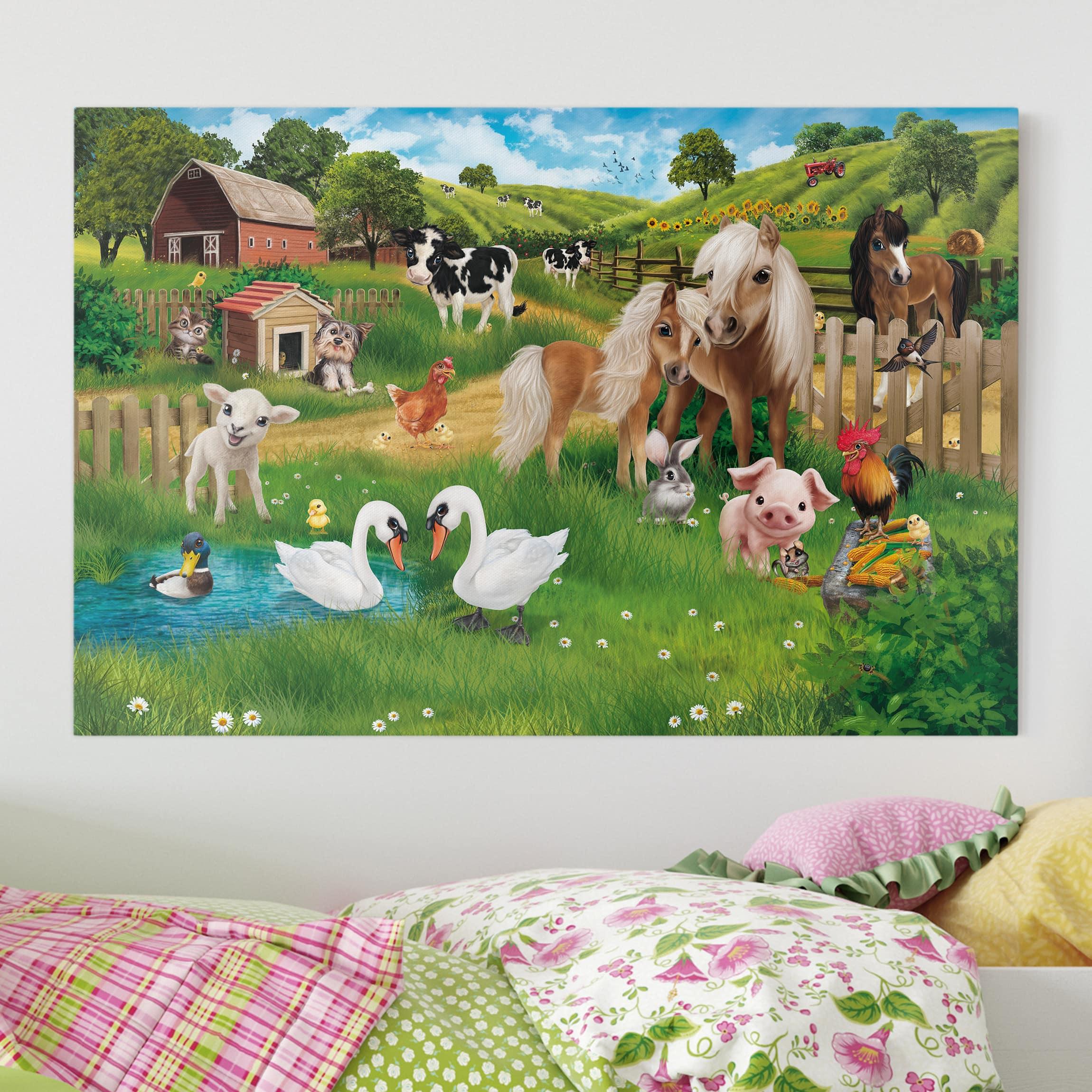 Leinwandbild Kinderzimmer - Tiere auf dem Bauernhof - Querformat 2:3