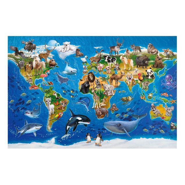 Produktfoto Magnettafel Kinderzimmer - Animal Club International - Weltkarte mit Tieren - Memoboard Querformat 2:3