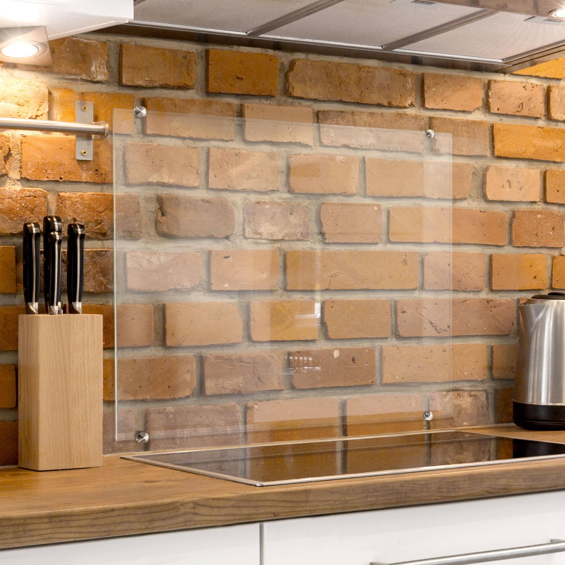 Paraschizzi cucina in vetro transparente morsetti incl quadrato 1 1 - Paraschizzi cucina vetro ...