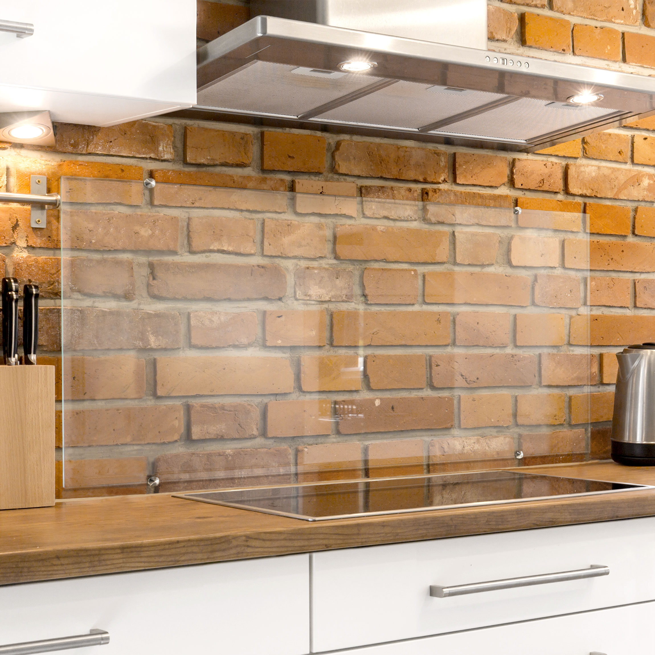 Paraschizzi Per Cucina In Vetro.Paraschizzi Cucina In Vetro Transparente Morsetti Incl Orizzontale 2 3