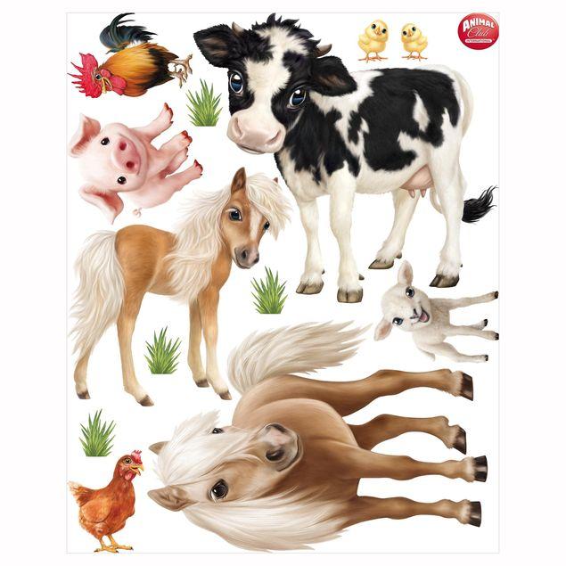 Produktfoto Fensterfolie Fenstersticker Kinderzimmer - Animal Club International - Tiere auf dem Bauernhof Set