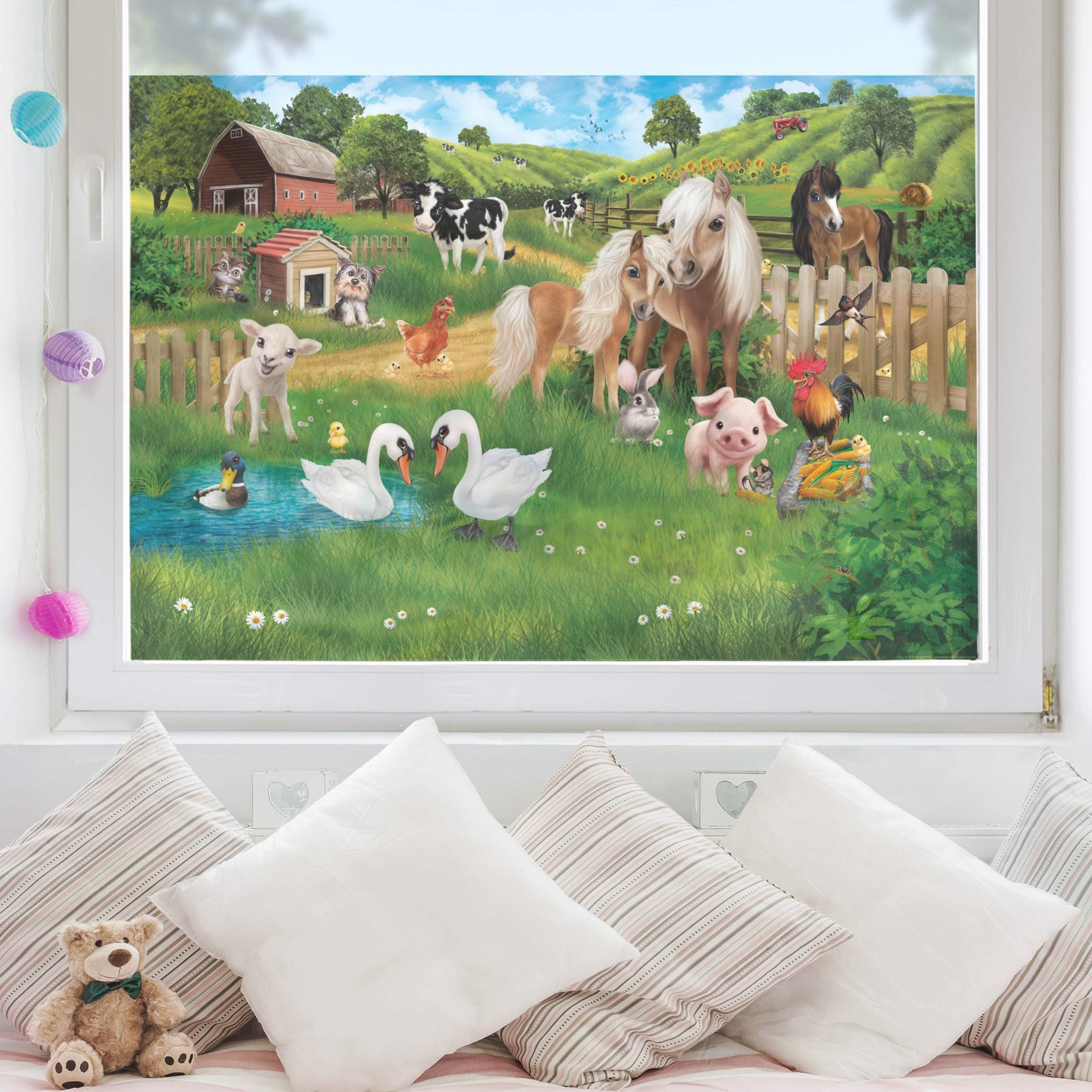 Fensterfolie Kinderzimmer Sichtschutz Tiere Auf Dem Bauernhof