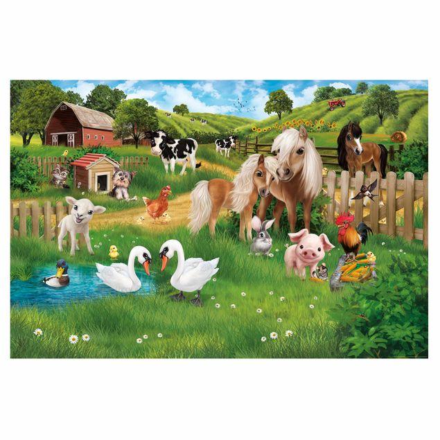 Produktfoto Fensterfolie Kinderzimmer Sichtschutz - Tiere auf dem Bauernhof - Fensterbild