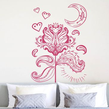 Immagine del prodotto Adesivo murale - Lotus With Moon And Hearts