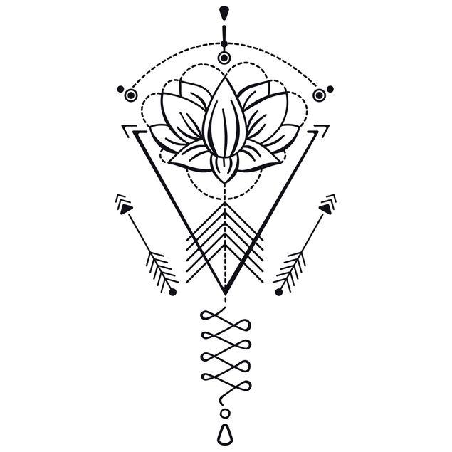 Produktfoto Wandtattoo - Lotus Unalome mit Pfeilen