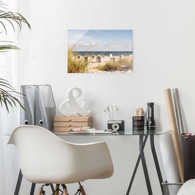 Produktfoto Glasbild - Ostsee und Strandkörbe - Querformat 2:3