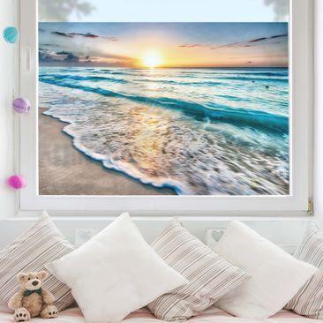Produktfoto Fensterfolie Sichtschutz - Sonnenuntergang am Strand - Fensterbild