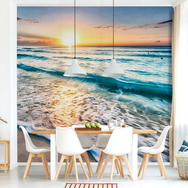 Produktfoto Tapete selbstklebend - Sonnenuntergang am Strand - Wandbild quadratisch