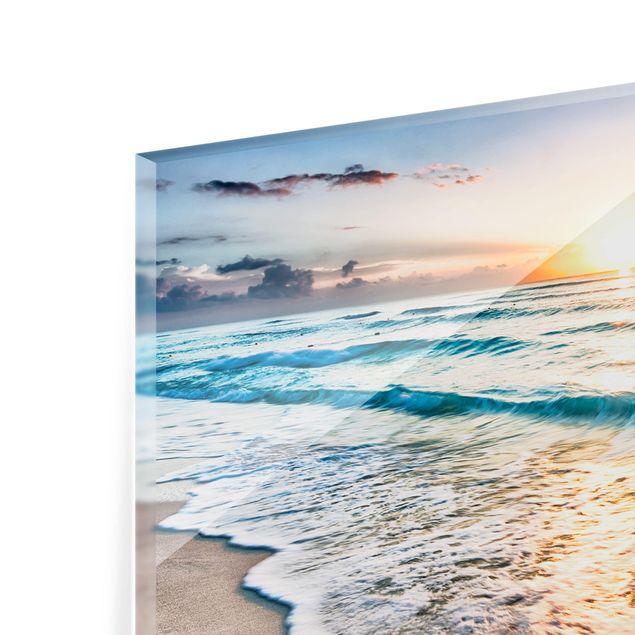 Produktfoto Spritzschutz Glas - Sonnenuntergang am Strand - Querformat 2:3