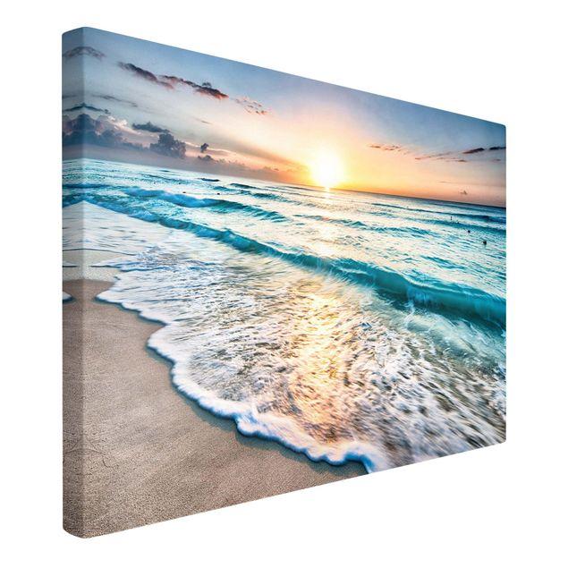 Produktfoto Leinwandbild - Sonnenuntergang am Strand - Querformat 2:3