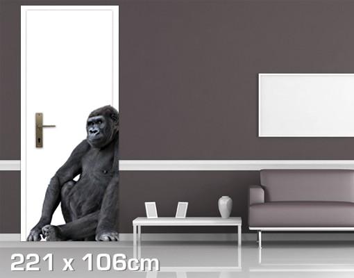 Produktfoto TürTapete Nachdenklicher Gorilla