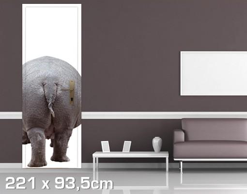 Produktfoto TürTapete Das Flusspferd geht nach Hause
