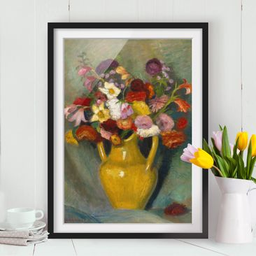 Immagine del prodotto Poster con cornice - Otto Modersohn - Colorful Bouquet In Yellow Clay Jug - Verticale 4:3