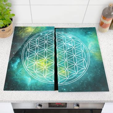 Immagine del prodotto Coprifornelli in vetro - Flower Of Life In The Light Of The Stars - 52x60cm