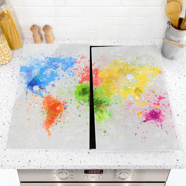 Immagine del prodotto Coprifornelli in vetro - Colorful Splashes World Map - 52x60cm