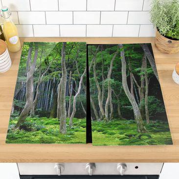 Produktfoto Herdabdeckplatte Glas - Japanischer Wald - 52x60cm, vergrößerte Ansicht in Wohnambiente, Artikelnummer 227748-XWA