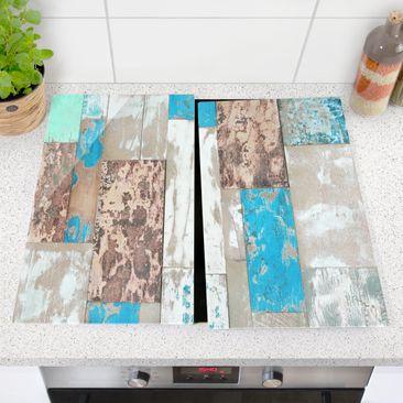 Produktfoto Herdabdeckplatte Glas - Maritime Planks - 52x60cm, vergrößerte Ansicht in Wohnambiente, Artikelnummer 227764-XWA