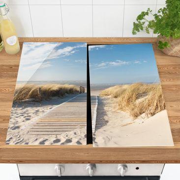 Produktfoto Herdabdeckplatte Glas - Ostsee Strand - 52x60cm, vergrößerte Ansicht in Wohnambiente, Artikelnummer 227786-XWA