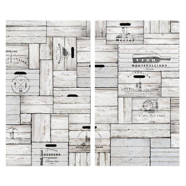 Immagine del prodotto Coprifornelli in vetro - Shabby Wooden Boxes - 52x60cm