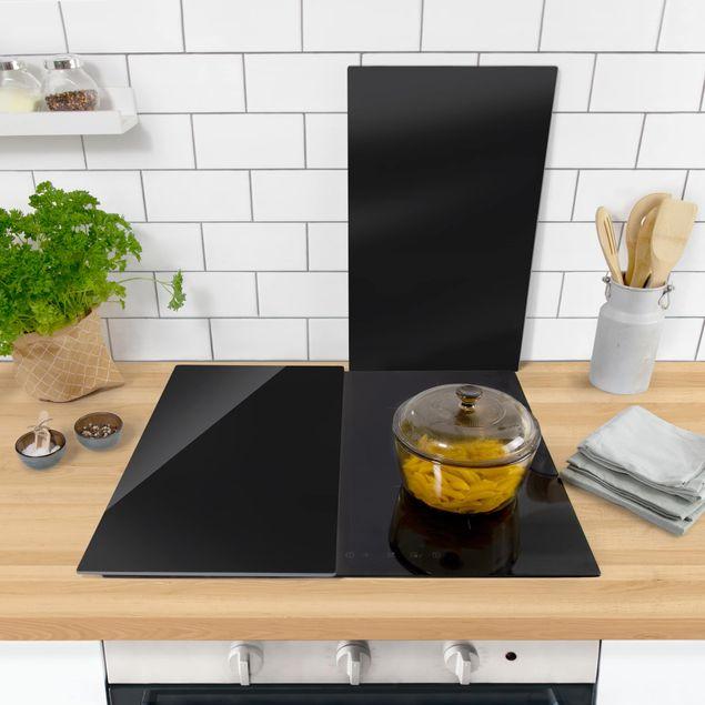 Produktfoto Herdabdeckplatte Glas - Tiefschwarz - 52x60cm, in Wohnambiente, Artikelnummer 227824-WA