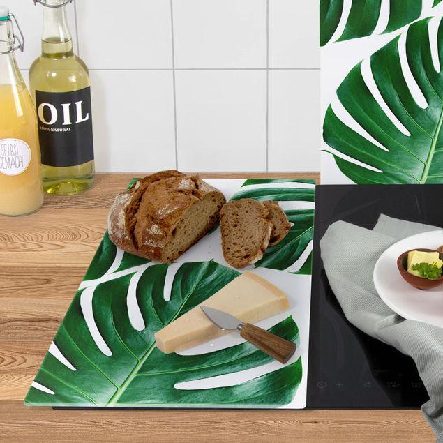 Produktfoto Herdabdeckplatte Glas - Tropische grüne Blätter Monstera - 52x60cm, Anwendungsbeispiel, Artikelnummer 227826-XWAF