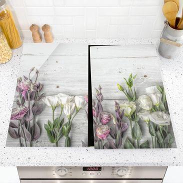 Immagine del prodotto Coprifornelli in vetro - Tulip Rose Shabby Wood Look - 52x60cm