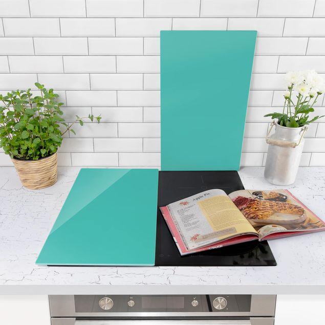 Produktfoto Herdabdeckplatte Glas - Türkis - 52x60cm, in Wohnambiente, Artikelnummer 227828-WA