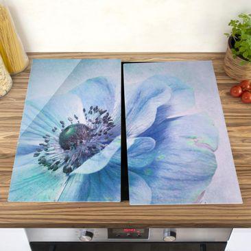 Produktfoto Herdabdeckplatte Glas - Blüte in Türkis - 52x60cm, vergrößerte Ansicht in Wohnambiente, Artikelnummer 227841-XWA