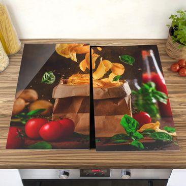 Produktfoto Herdabdeckplatte Glas - Tomate-Basilikum-Snack - 52x60cm, vergrößerte Ansicht in Wohnambiente, Artikelnummer 227856-XWA