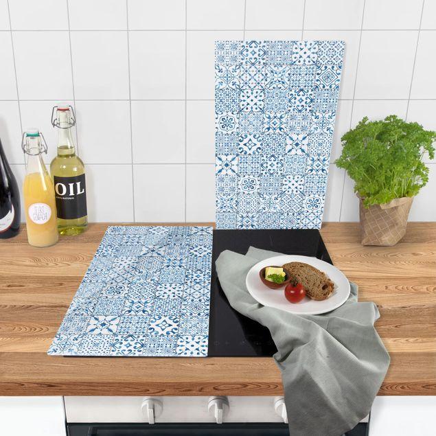 Immagine del prodotto Coprifornelli in vetro - Pattern Tiles Blue White - 52x60cm