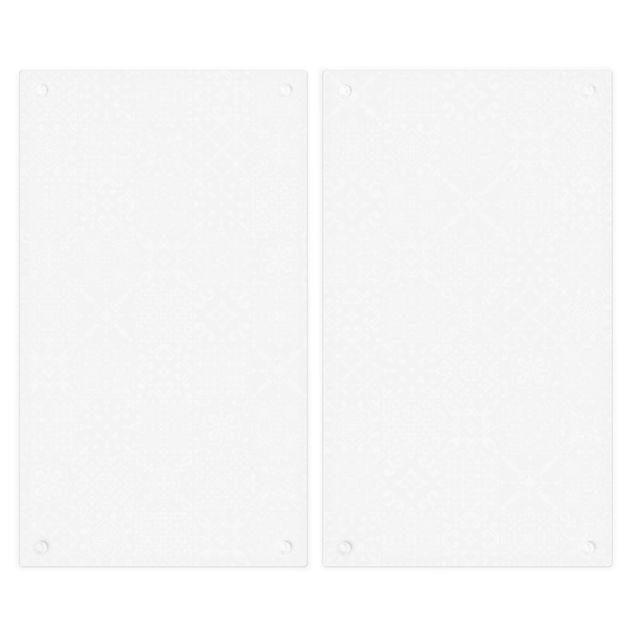 Produktfoto Herdabdeckplatte Glas - Musterfliesen Dunkelgrau Weiß - 52x60cm, Unterseite, Artikelnummer 227871-FB