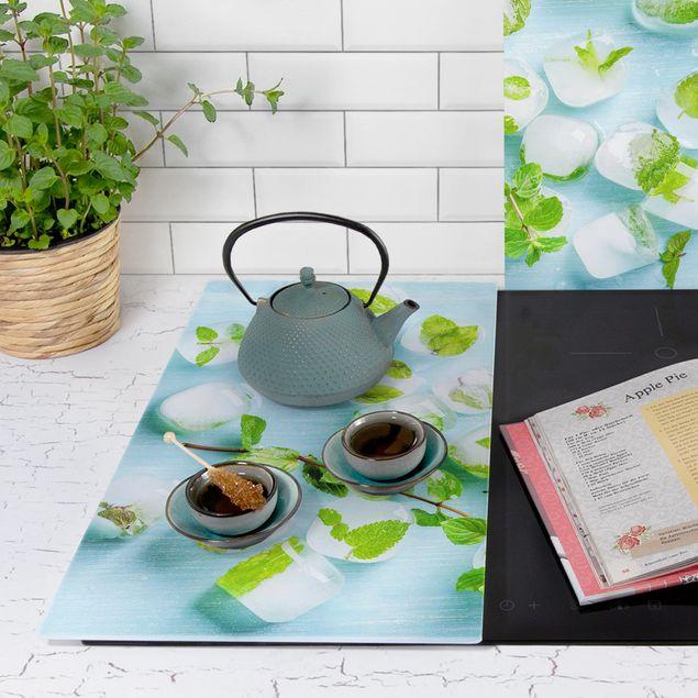 Produktfoto Herdabdeckplatte Glas - Eiswürfel mit Minzblättern - 52x60cm, Anwendungsbeispiel, Artikelnummer 227906-XWAF