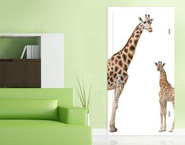 Produktfoto TürTapete Giraffe Mutter und Kind