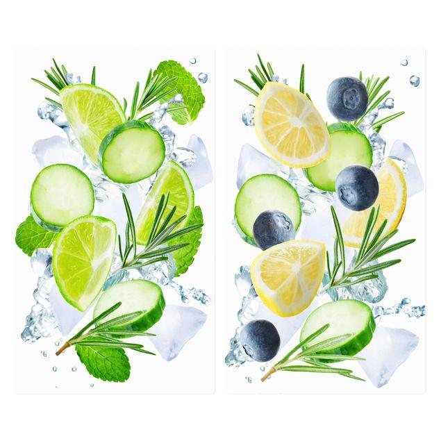 Produktfoto Herdabdeckplatte Glas - Zitrusfrucht trifft Gurke Eiswürfel Splash - 52x60cm, Frontalansicht, Artikelnummer 227924-FF