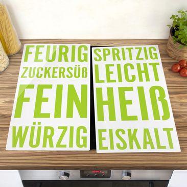 Produktfoto Herdabdeckplatte Glas - No.UL405 Küchenworte - 52x60cm, vergrößerte Ansicht in Wohnambiente, Artikelnummer 227926-XWA